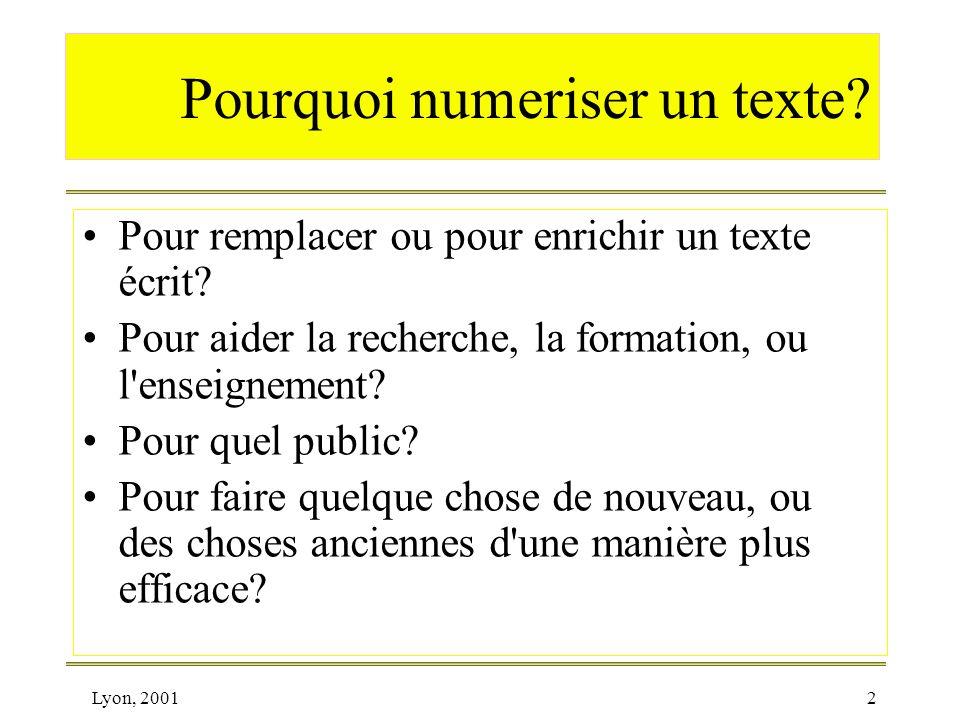 Pourquoi numeriser un texte