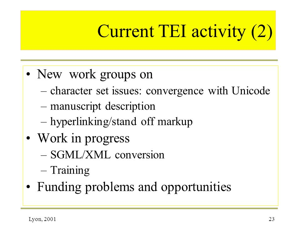 Current TEI activity (2)