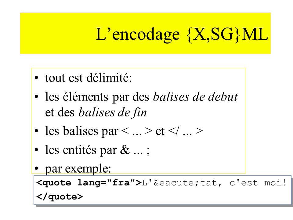 L'encodage {X,SG}ML tout est délimité: