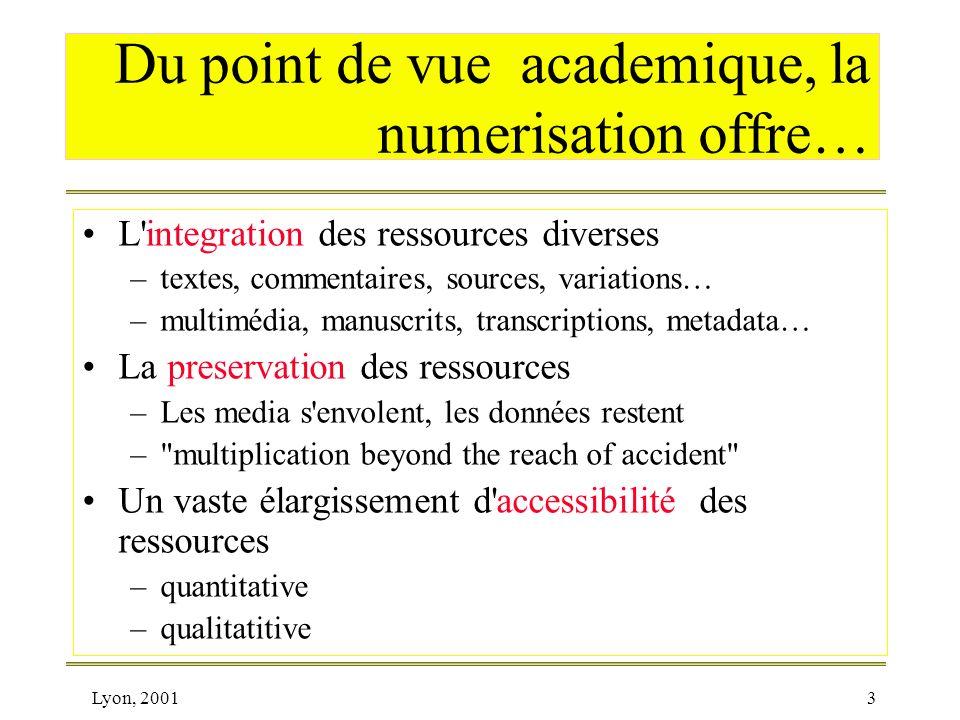 Du point de vue academique, la numerisation offre…