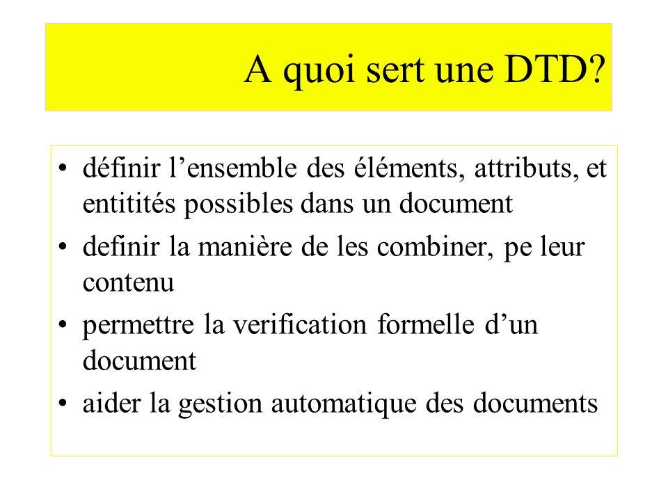 A quoi sert une DTD définir l'ensemble des éléments, attributs, et entitités possibles dans un document.