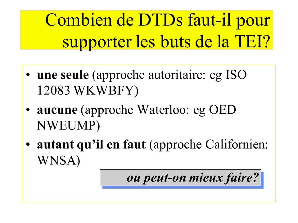 Combien de DTDs faut-il pour supporter les buts de la TEI