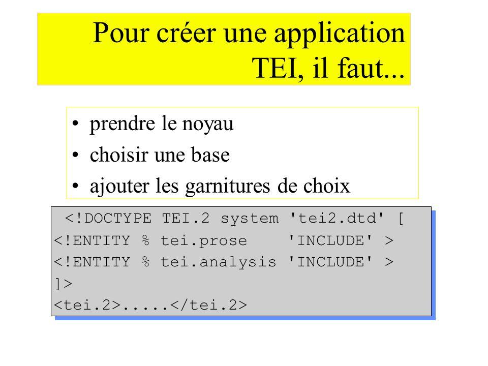 Pour créer une application TEI, il faut...