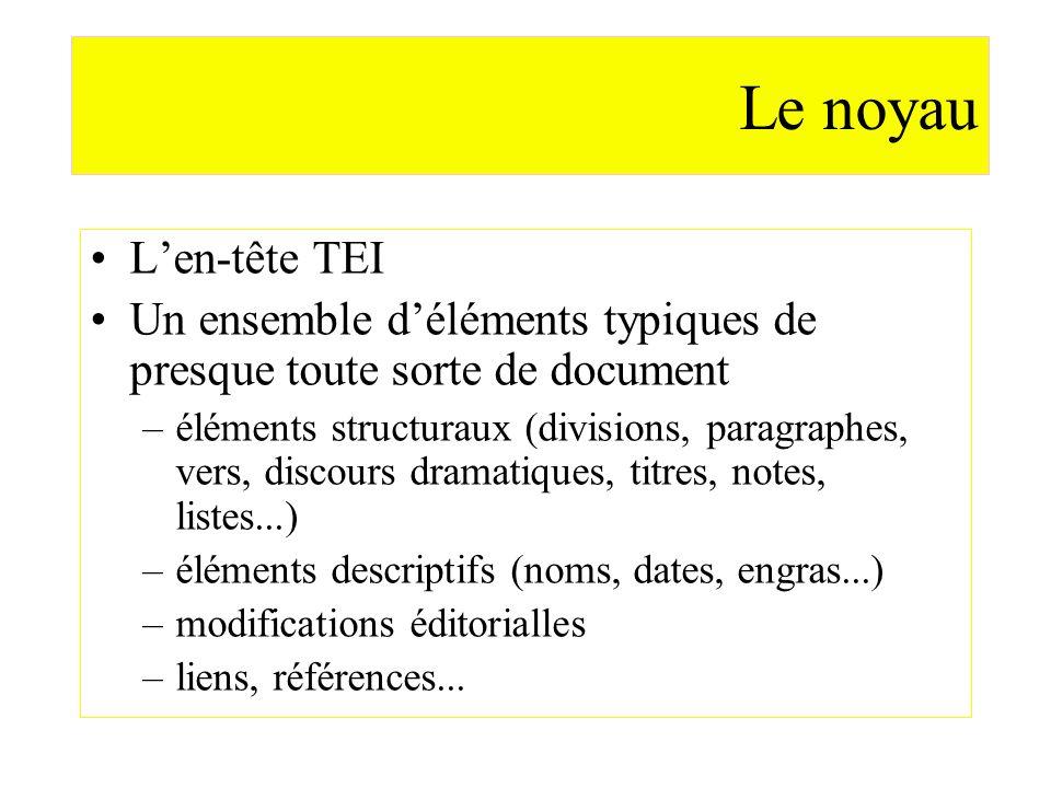 Le noyauL'en-tête TEI. Un ensemble d'éléments typiques de presque toute sorte de document.