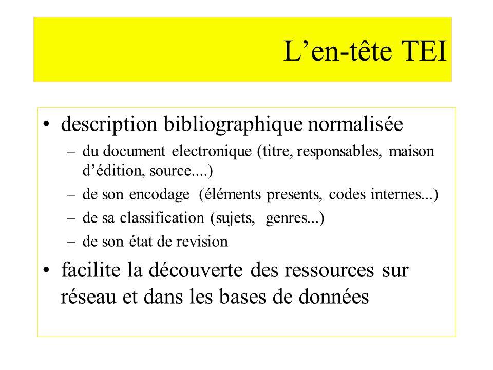 L'en-tête TEI description bibliographique normalisée