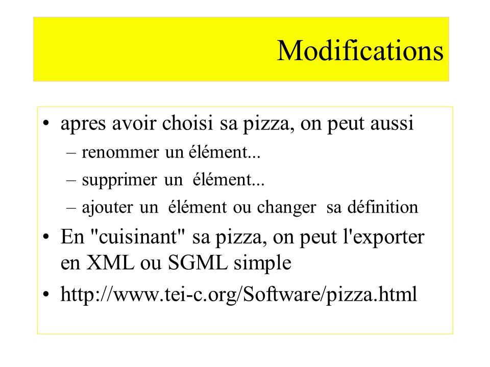 Modifications apres avoir choisi sa pizza, on peut aussi