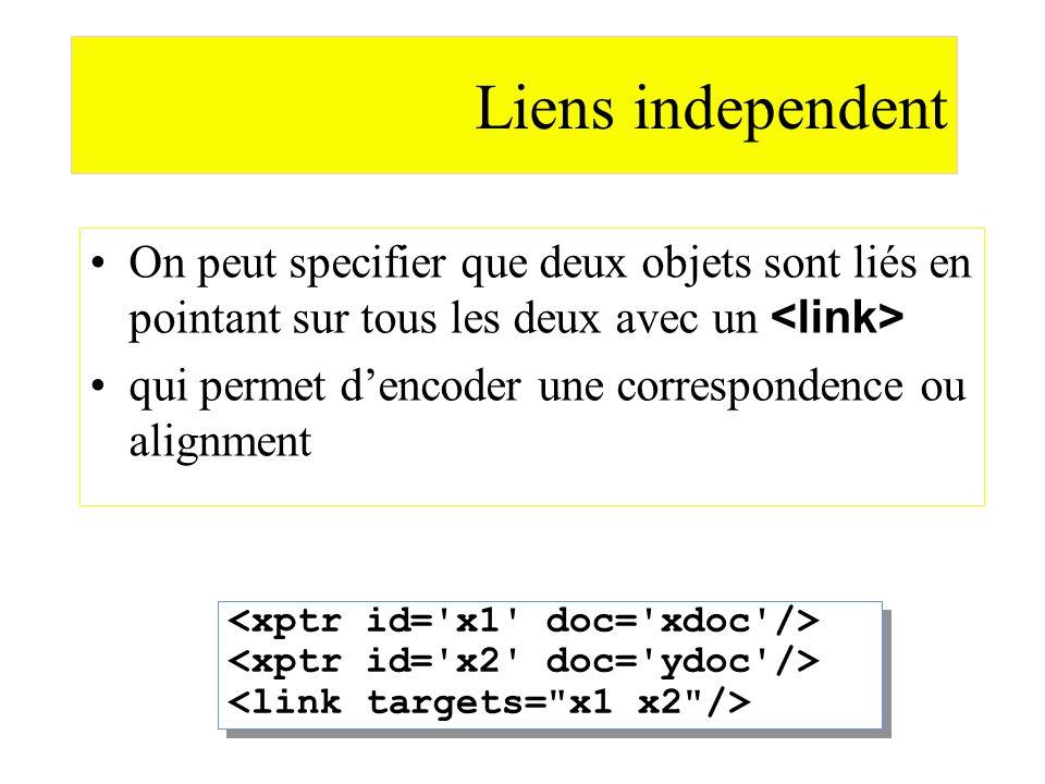 Liens independent On peut specifier que deux objets sont liés en pointant sur tous les deux avec un <link>