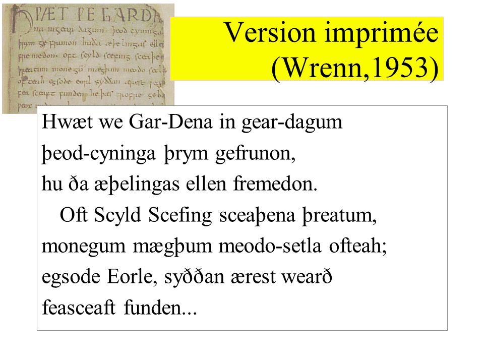 Version imprimée (Wrenn,1953)