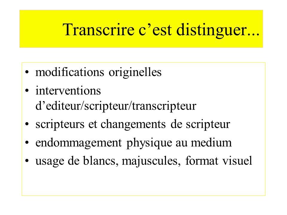 Transcrire c'est distinguer...