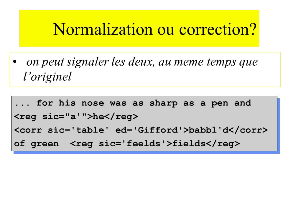 Normalization ou correction