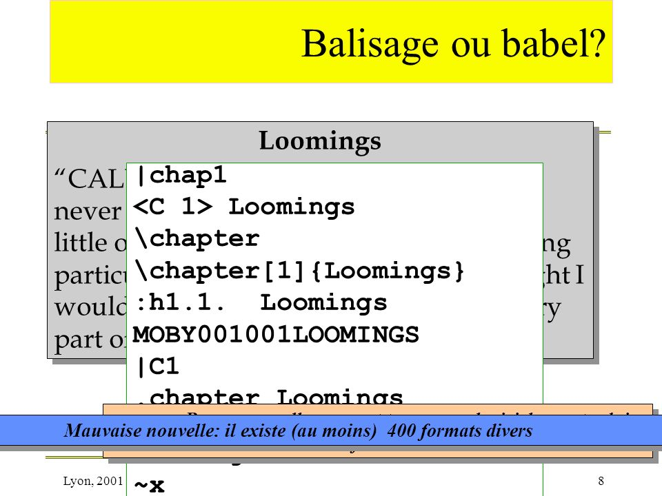 Balisage ou babel Loomings