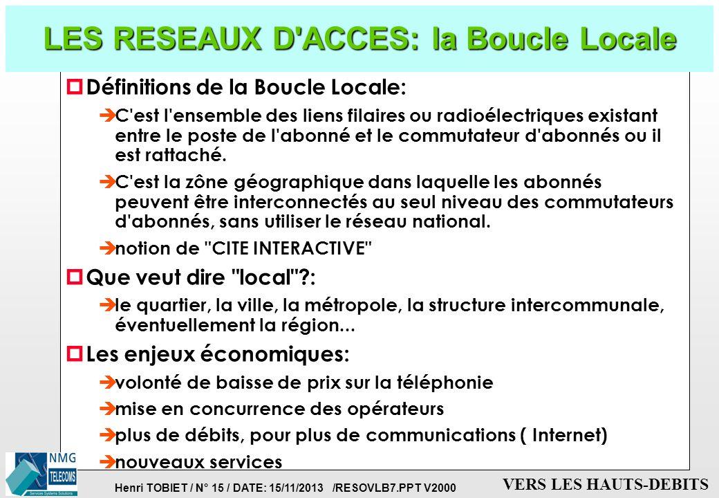 LES RESEAUX D ACCES: la Boucle Locale
