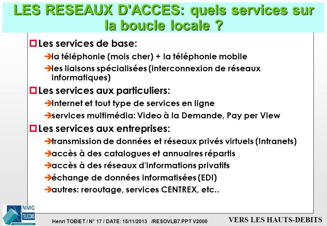 LES RESEAUX D ACCES: quels services sur la boucle locale