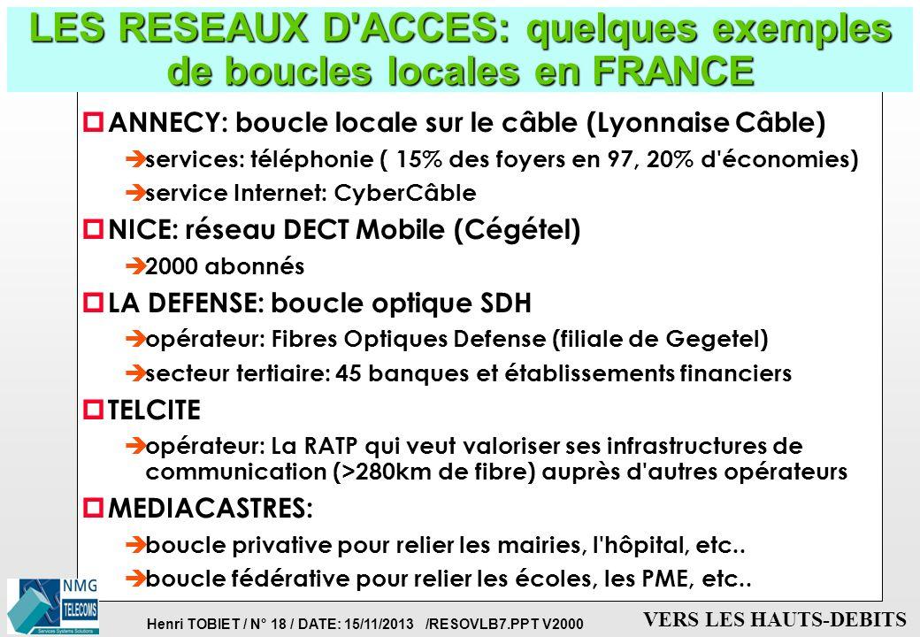 LES RESEAUX D ACCES: quelques exemples de boucles locales en FRANCE