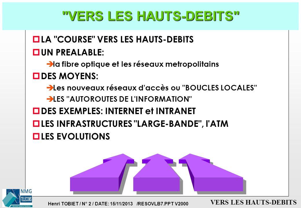 VERS LES HAUTS-DEBITS LA COURSE VERS LES HAUTS-DEBITS