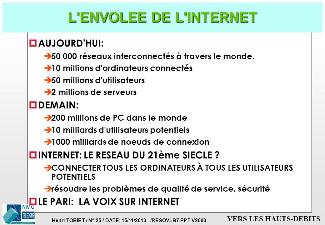 L ENVOLEE DE L INTERNET AUJOURD HUI: DEMAIN: