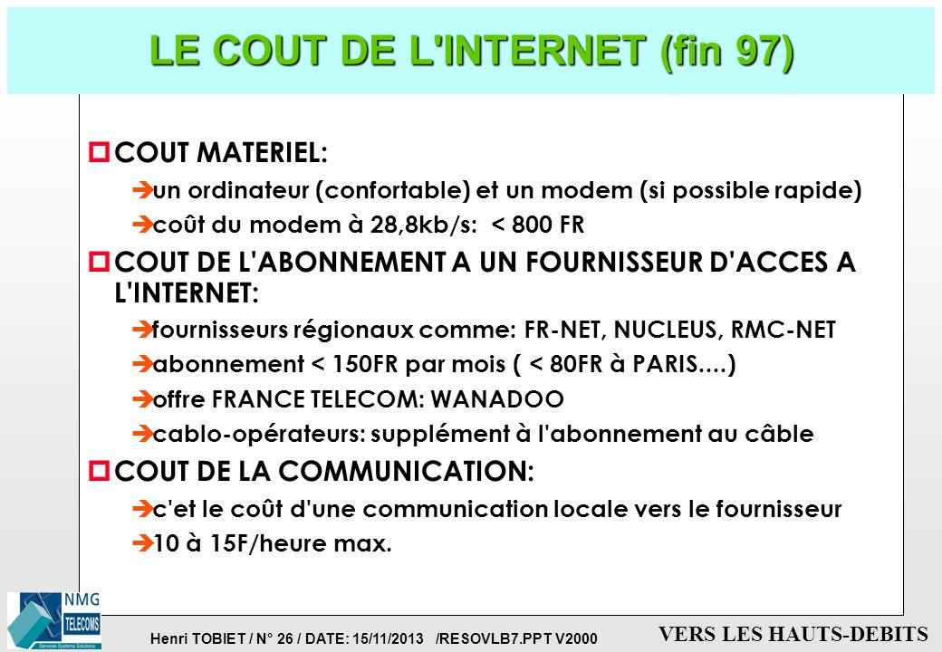 LE COUT DE L INTERNET (fin 97)