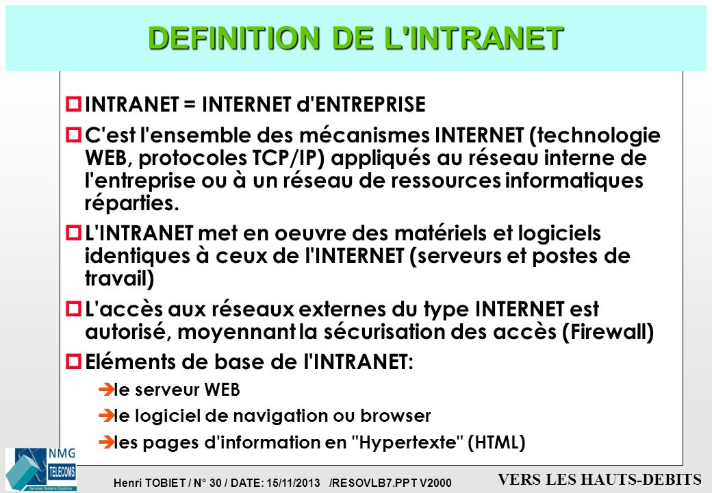 DEFINITION DE L INTRANET