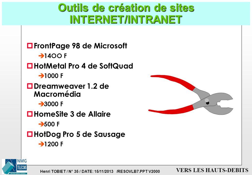 Outils de création de sites INTERNET/INTRANET