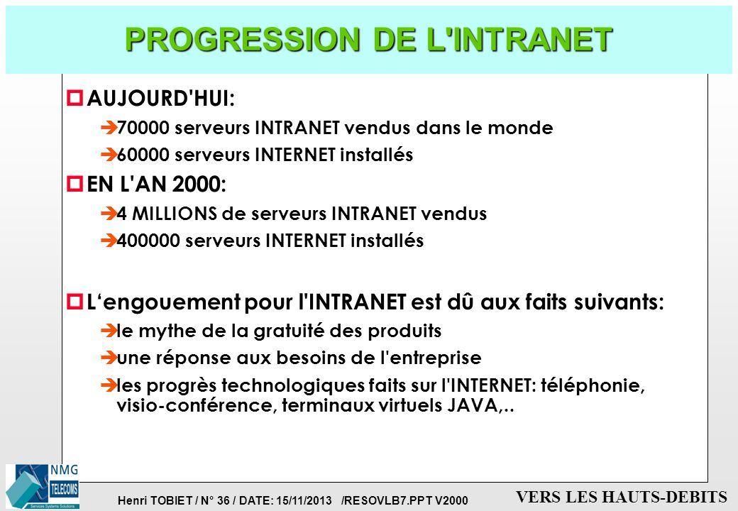 PROGRESSION DE L INTRANET