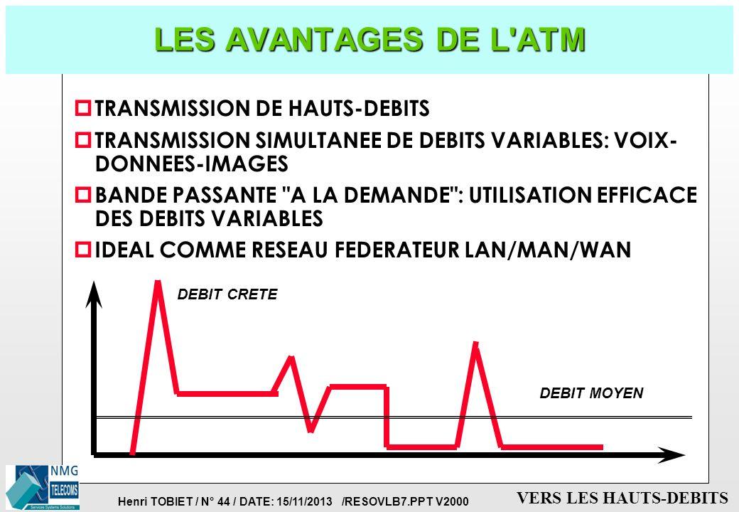 LES AVANTAGES DE L ATM TRANSMISSION DE HAUTS-DEBITS