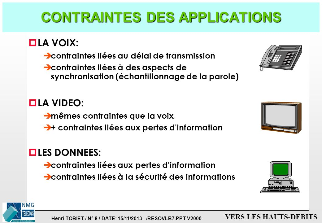 CONTRAINTES DES APPLICATIONS
