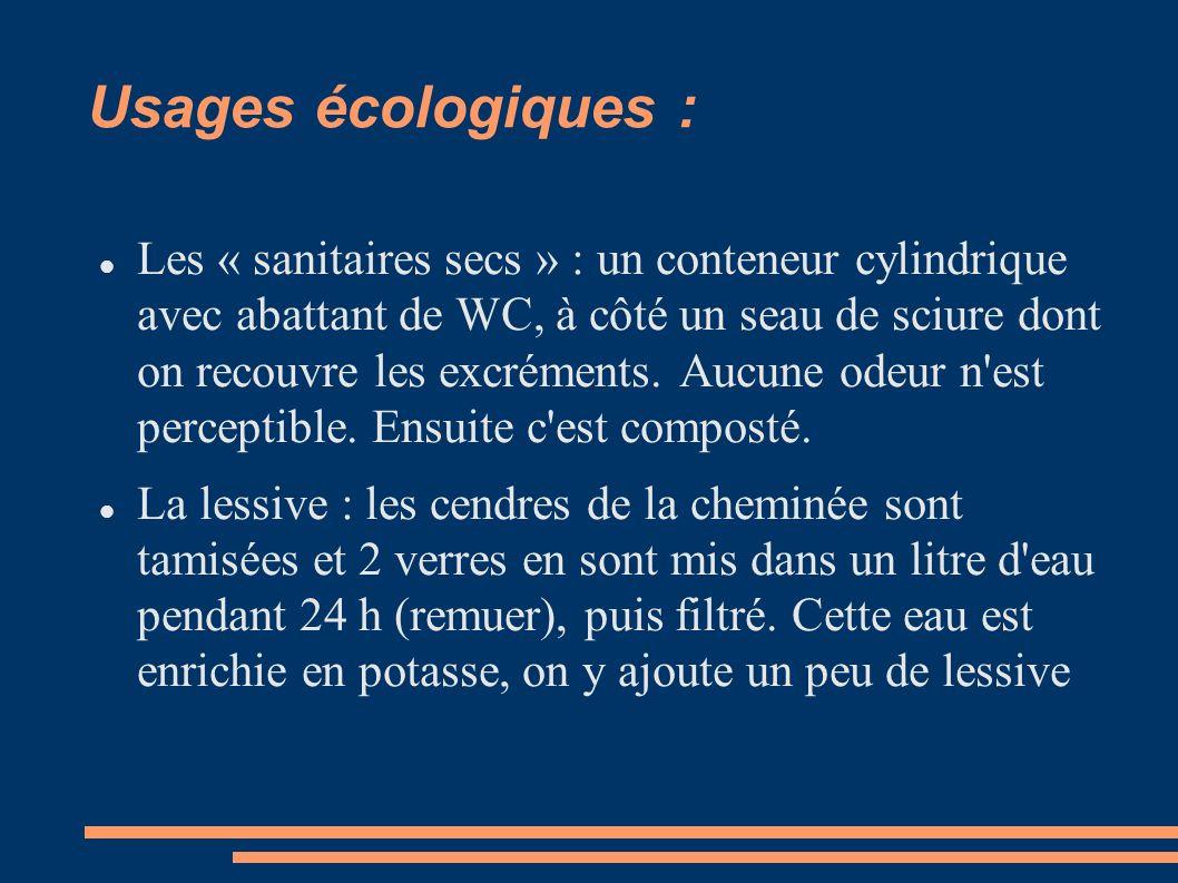 Usages écologiques :