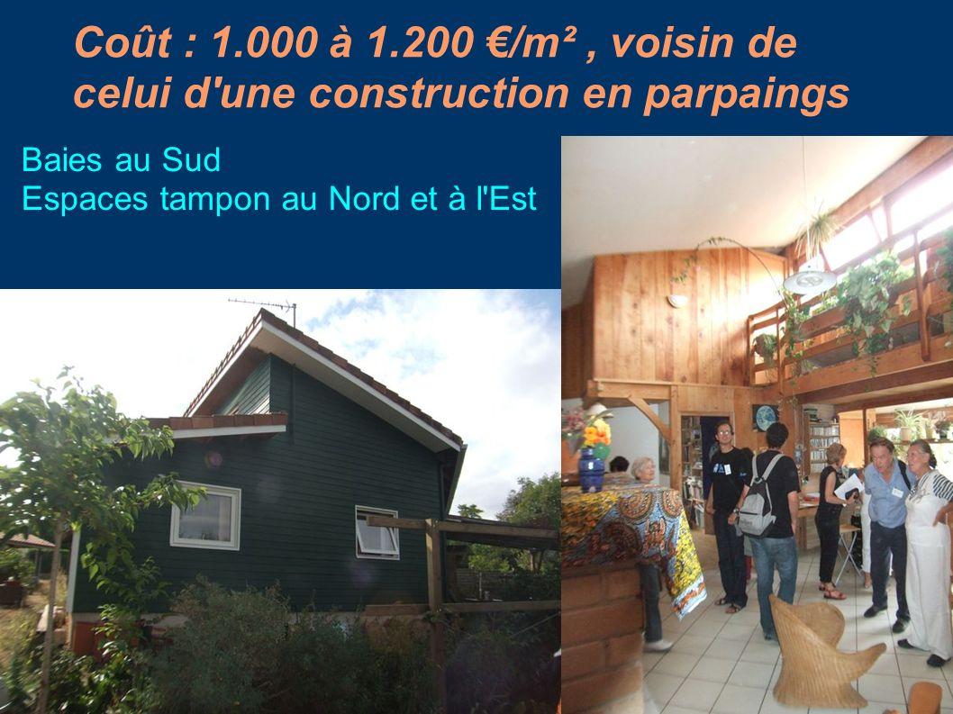 Coût : 1.000 à 1.200 €/m² , voisin de celui d une construction en parpaings