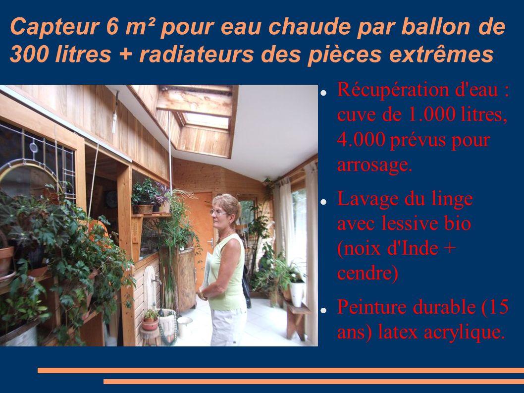 Capteur 6 m² pour eau chaude par ballon de 300 litres + radiateurs des pièces extrêmes