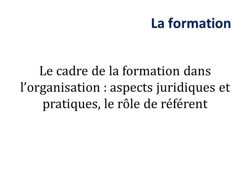 La formation Le cadre de la formation dans l'organisation : aspects juridiques et pratiques, le rôle de référent.