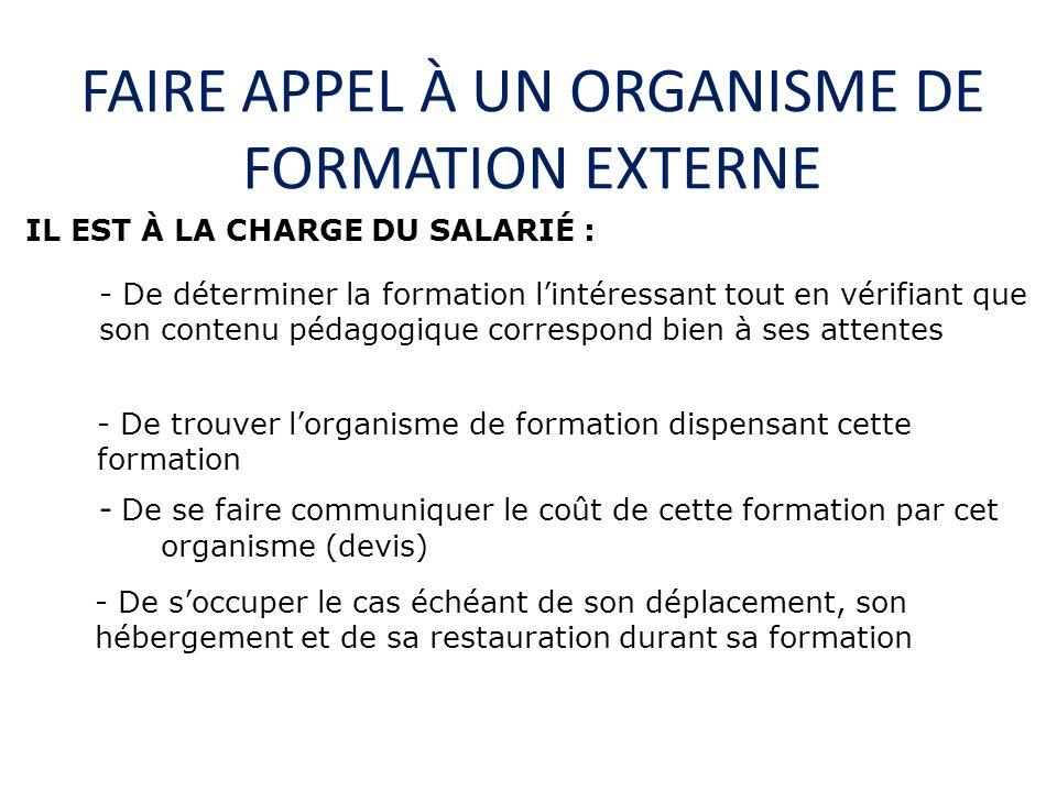 FAIRE APPEL À UN ORGANISME DE FORMATION EXTERNE