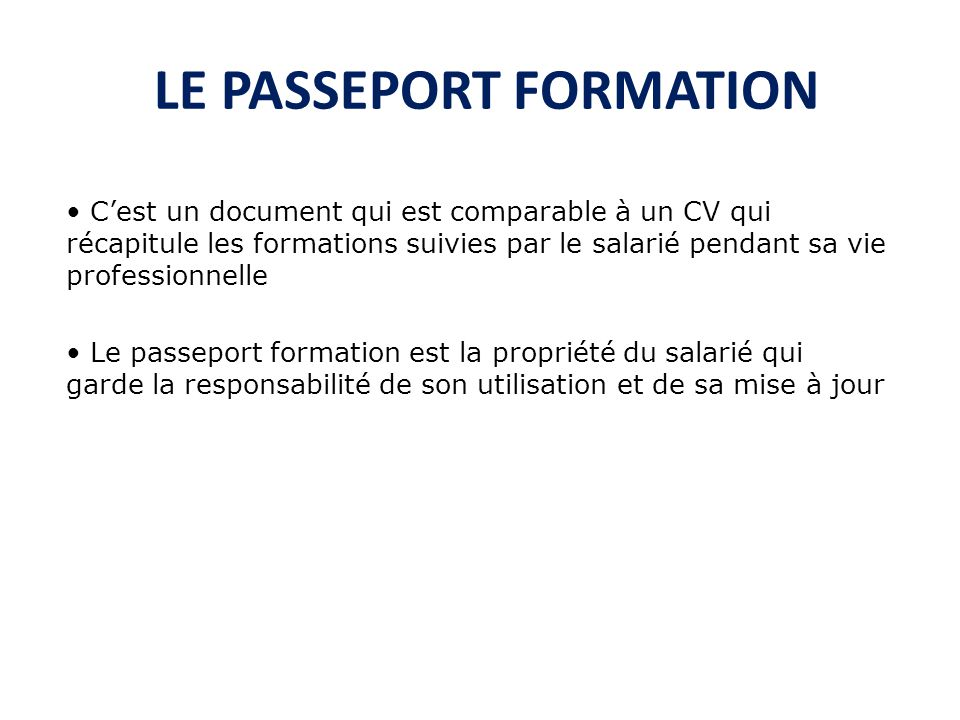 LE PASSEPORT FORMATION