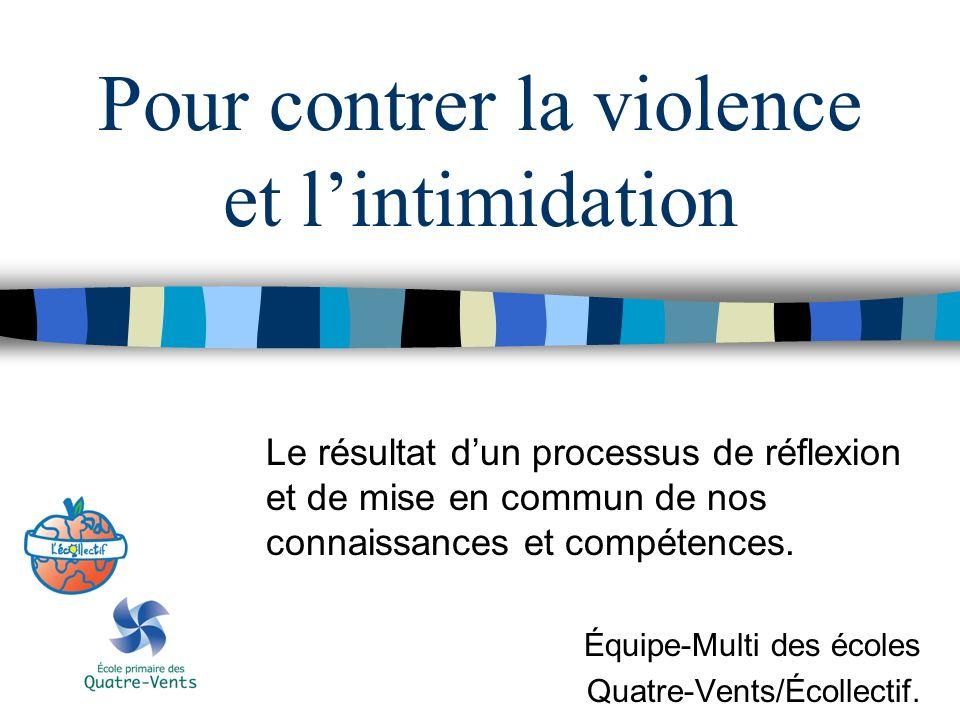 Pour contrer la violence et l'intimidation