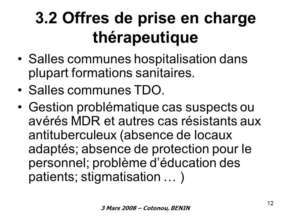 3.2 Offres de prise en charge thérapeutique