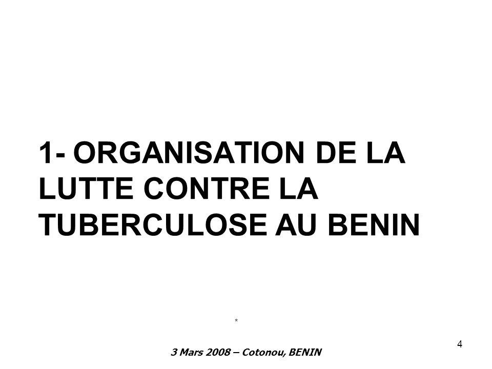1- ORGANISATION DE LA LUTTE CONTRE LA TUBERCULOSE AU BENIN