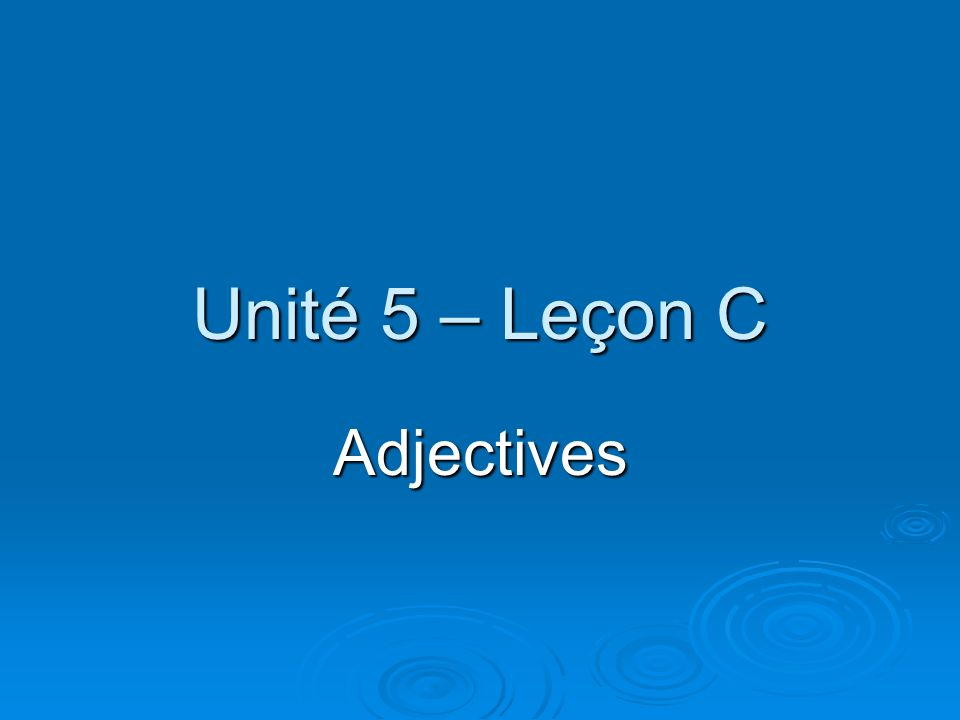 Unité 5 – Leçon C Adjectives