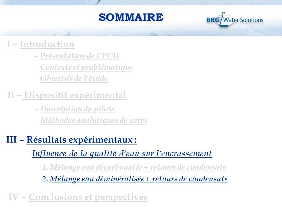 SOMMAIRE I – Introduction II – Dispositif expérimental