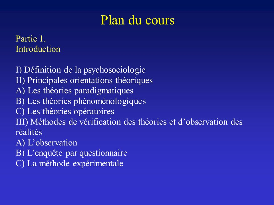 Plan du cours Partie 1. Introduction