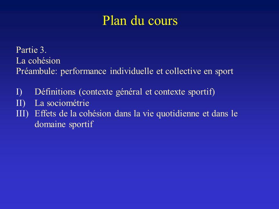 Plan du cours Partie 3. La cohésion