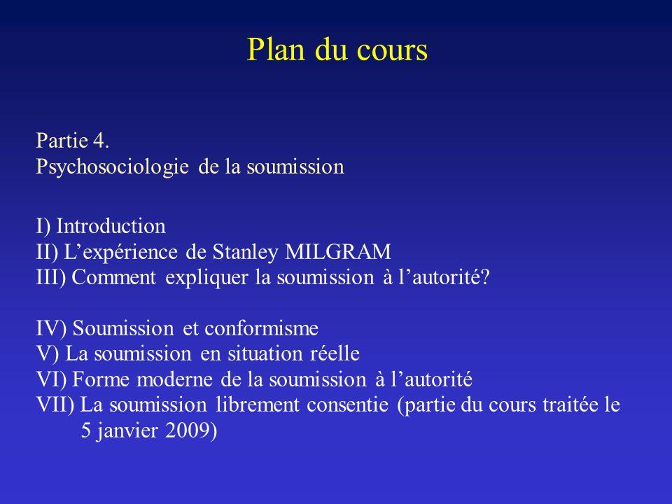 Plan du cours Partie 4. Psychosociologie de la soumission