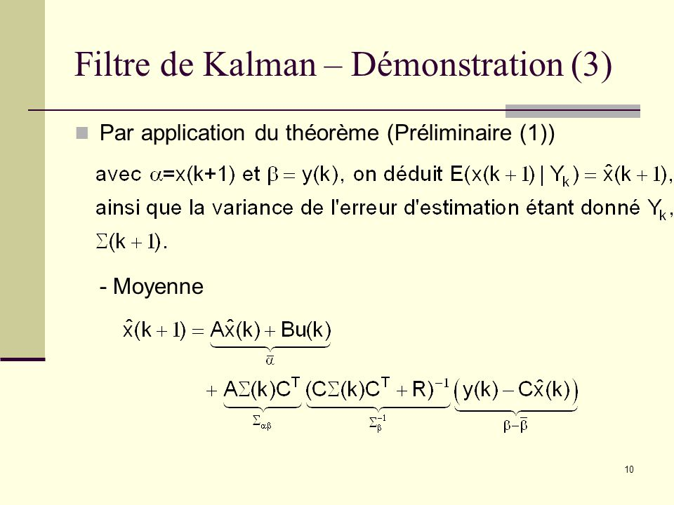 Filtre de Kalman – Démonstration (3)