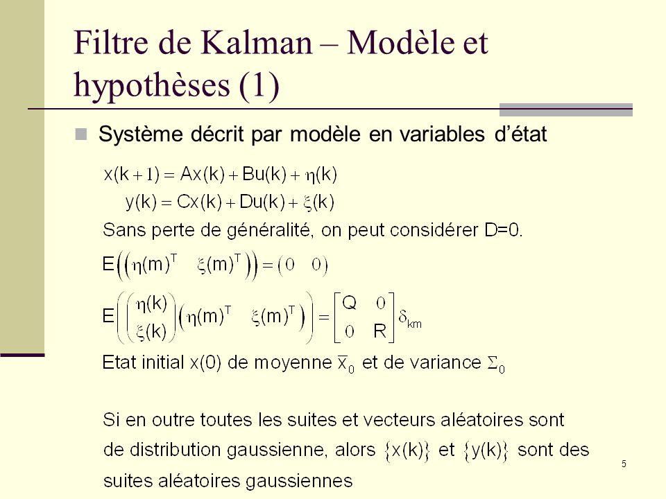 Filtre de Kalman – Modèle et hypothèses (1)