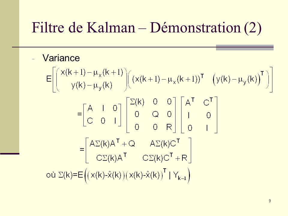 Filtre de Kalman – Démonstration (2)