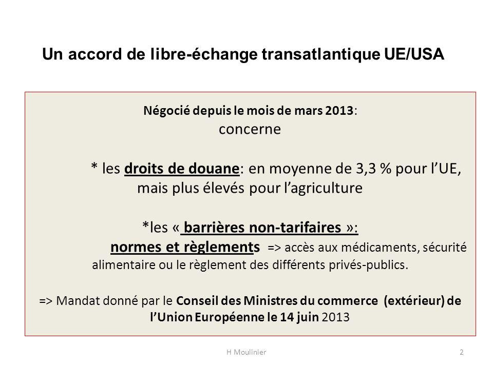 Un accord de libre-échange transatlantique UE/USA