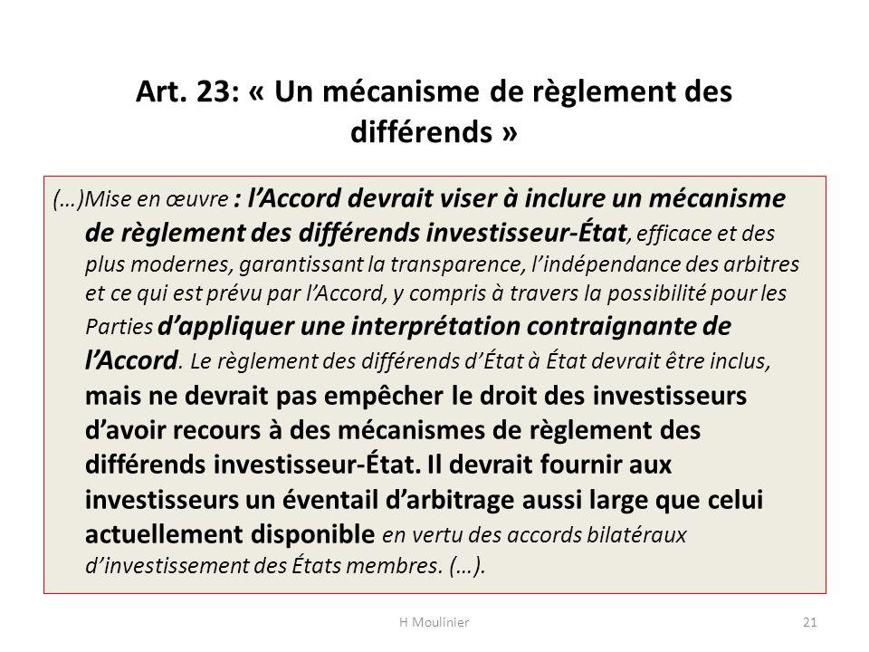 Art. 23: « Un mécanisme de règlement des différends »