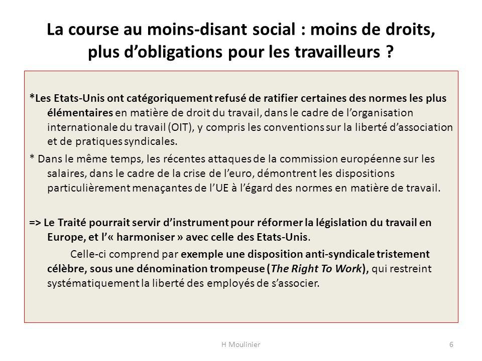 La course au moins-disant social : moins de droits, plus d'obligations pour les travailleurs