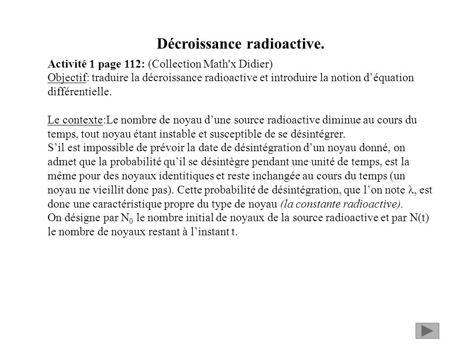 Décroissance radioactive.
