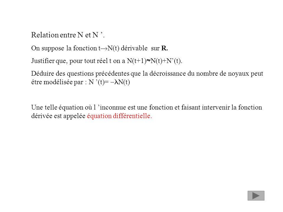 Relation entre N et N '. On suppose la fonction tN(t) dérivable sur R. Justifier que, pour tout réel t on a N(t+1)N(t)+N'(t).
