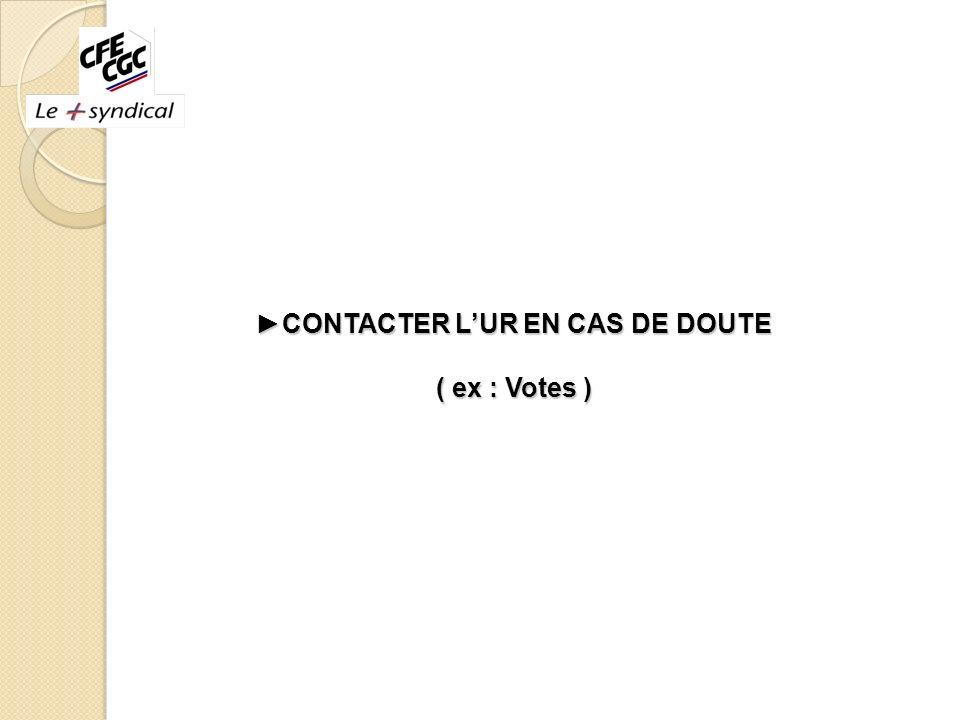 ►CONTACTER L'UR EN CAS DE DOUTE ( ex : Votes )