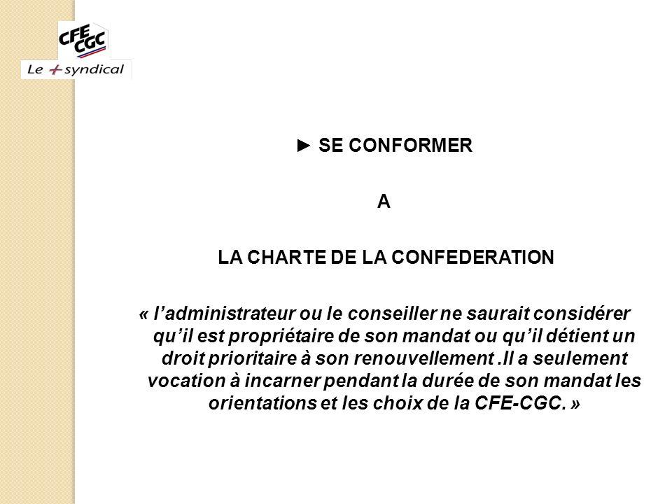 LA CHARTE DE LA CONFEDERATION